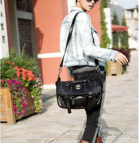 Стильная сумка-портфель с черепом
