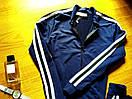Женский спортивный прогулочный костюм смарт на замке с двухцветными лампасами М-ка темно синий, фото 3