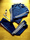 Женский спортивный прогулочный костюм смарт на замке с двухцветными лампасами М-ка темно синий, фото 4