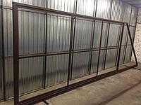 Откатные ворота из профнастила с двух сторон 5000х2000