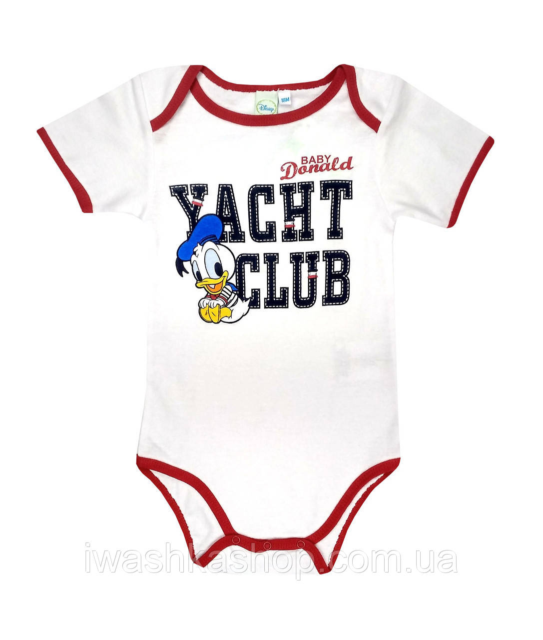 Стильне біле боді з коротким рукавом, з принтом Доналда Дака (Donald Duck) на хлопчика 12 місяців, Disney