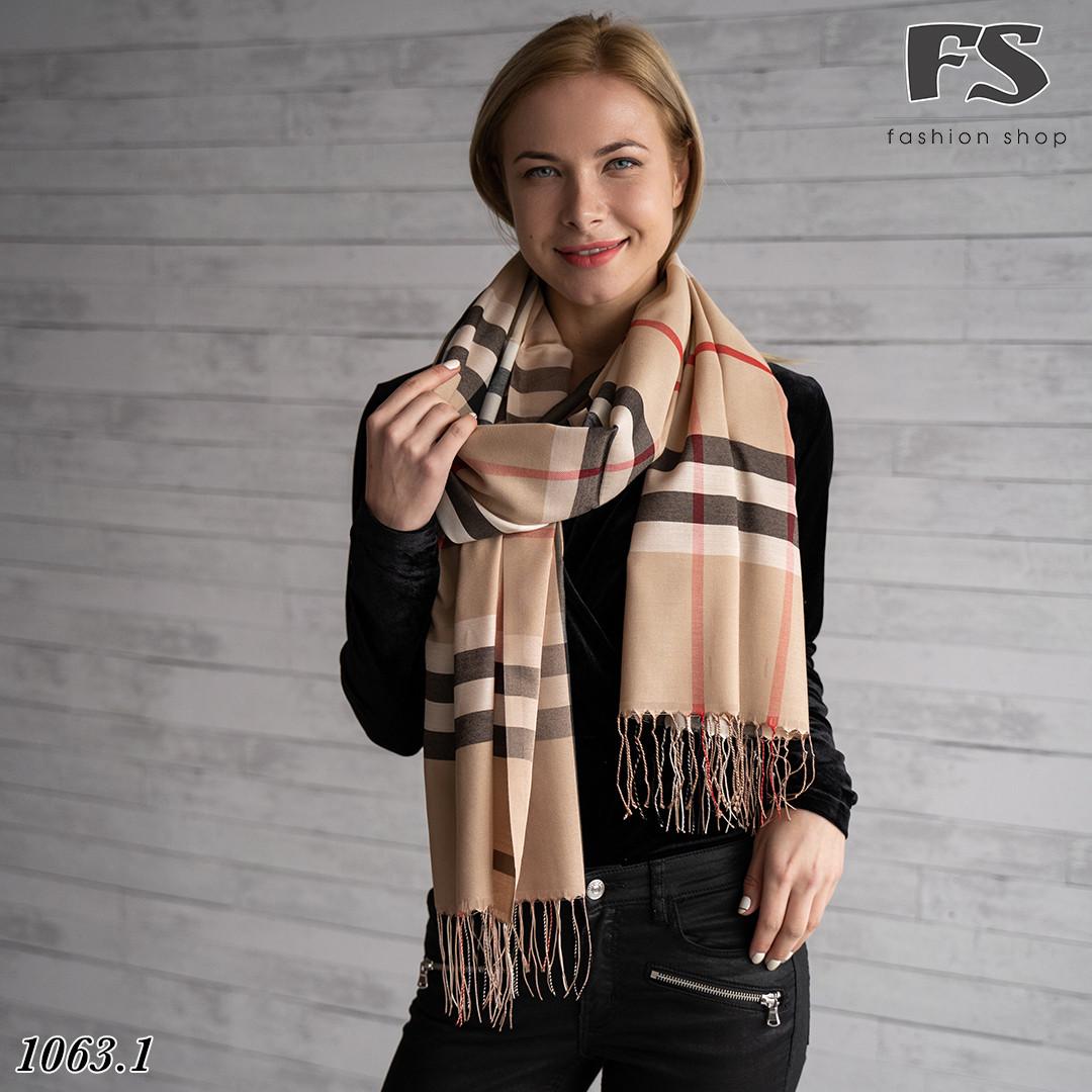 Бежевый стильный двусторонний шарф