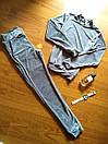 Бархатный велюровый бархат велюр женский спортивный костюм С-ка серый, фото 2