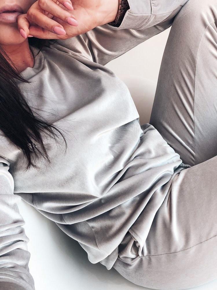 Бархатный велюровый бархат велюр женский спортивный костюм С-ка серый