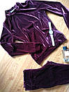 Бархатный велюровый бархат велюр женский спортивный костюм С-ка бордо бордовый марсала марсаловый, фото 2