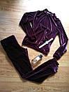 Бархатный велюровый бархат велюр женский спортивный костюм С-ка бордо бордовый марсала марсаловый, фото 4