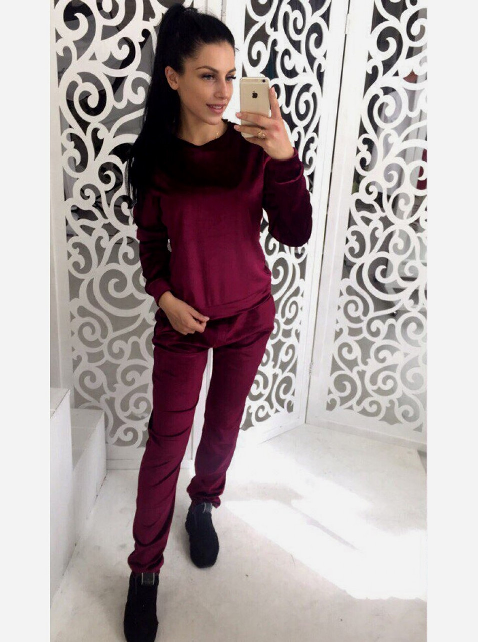 b9d1f08e Бархатный велюровый бархат велюр женский спортивный костюм М-ка бордо  бордовый марсала марсаловый - КОКО