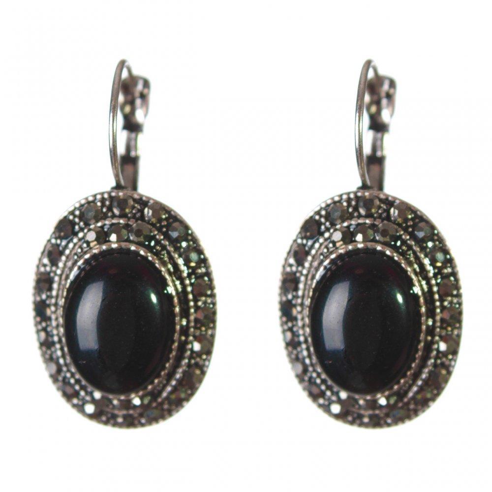 ab70d306 Серьги женские с камнем из черного Агата под