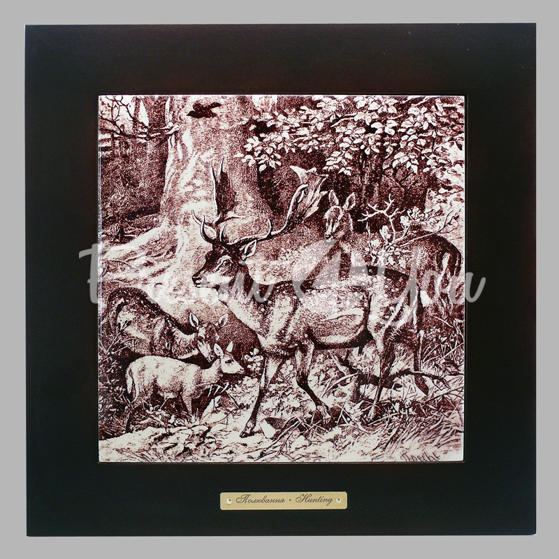 Панно настенное 'Охота. Олени', 20х20, 28х28 см.