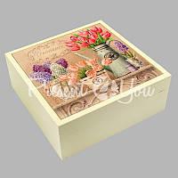 Шкатулка для бижутерии 'Тюльпаны и сирень' , 16,5х16,5х6,5 см .