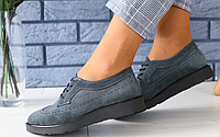 Туфли женские Оксфорды замшевые серые на шнурках на черной подошве, фото 1
