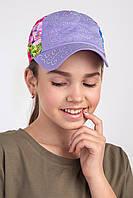 Яркая кепка для девочек на лето - Цветы-стразы (к1)