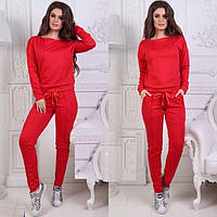 Стильный женский спортивный костюм с ленточками ткань двунитка стильные стрелки на штанишках С-ка красный