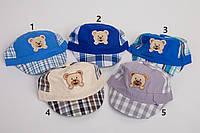 Летняя кепка в клетку для мальчика - Мишка (к16)