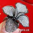 Эксклюзивное серебряное кольцо Цветок - Коктейльное серебряное кольцо, фото 10