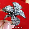 Эксклюзивное серебряное кольцо Цветок - Коктейльное серебряное кольцо, фото 9