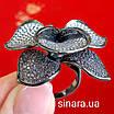 Эксклюзивное серебряное кольцо Цветок - Коктейльное серебряное кольцо, фото 7