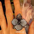 Эксклюзивное серебряное кольцо Цветок - Коктейльное серебряное кольцо, фото 4