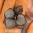 Эксклюзивное серебряное кольцо Цветок - Коктейльное серебряное кольцо, фото 2