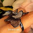 Эксклюзивное серебряное кольцо Цветок - Коктейльное серебряное кольцо, фото 3