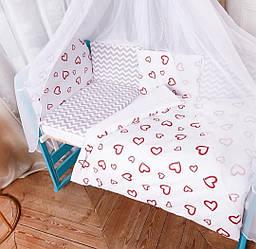 """Детский постельный комплект с балдахином в кроватку """"Валентинка"""""""
