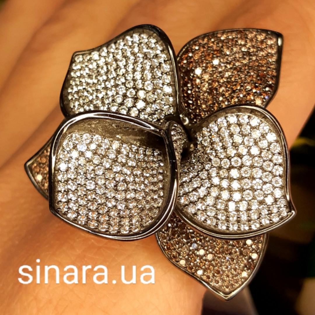 Эксклюзивное серебряное кольцо Цветок - Коктейльное серебряное кольцо