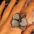 Эксклюзивное серебряное кольцо Цветок - Коктейльное серебряное кольцо, фото 5