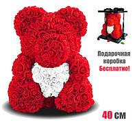 """Мишка из роз Тедди """"Teddy Bear"""" 40 см(Красный) + подарочная коробка бесплатно"""