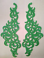 Кружевной фрагмент (лейс) Лаура зеленый, 9*26 см. Цена за пару, фото 1