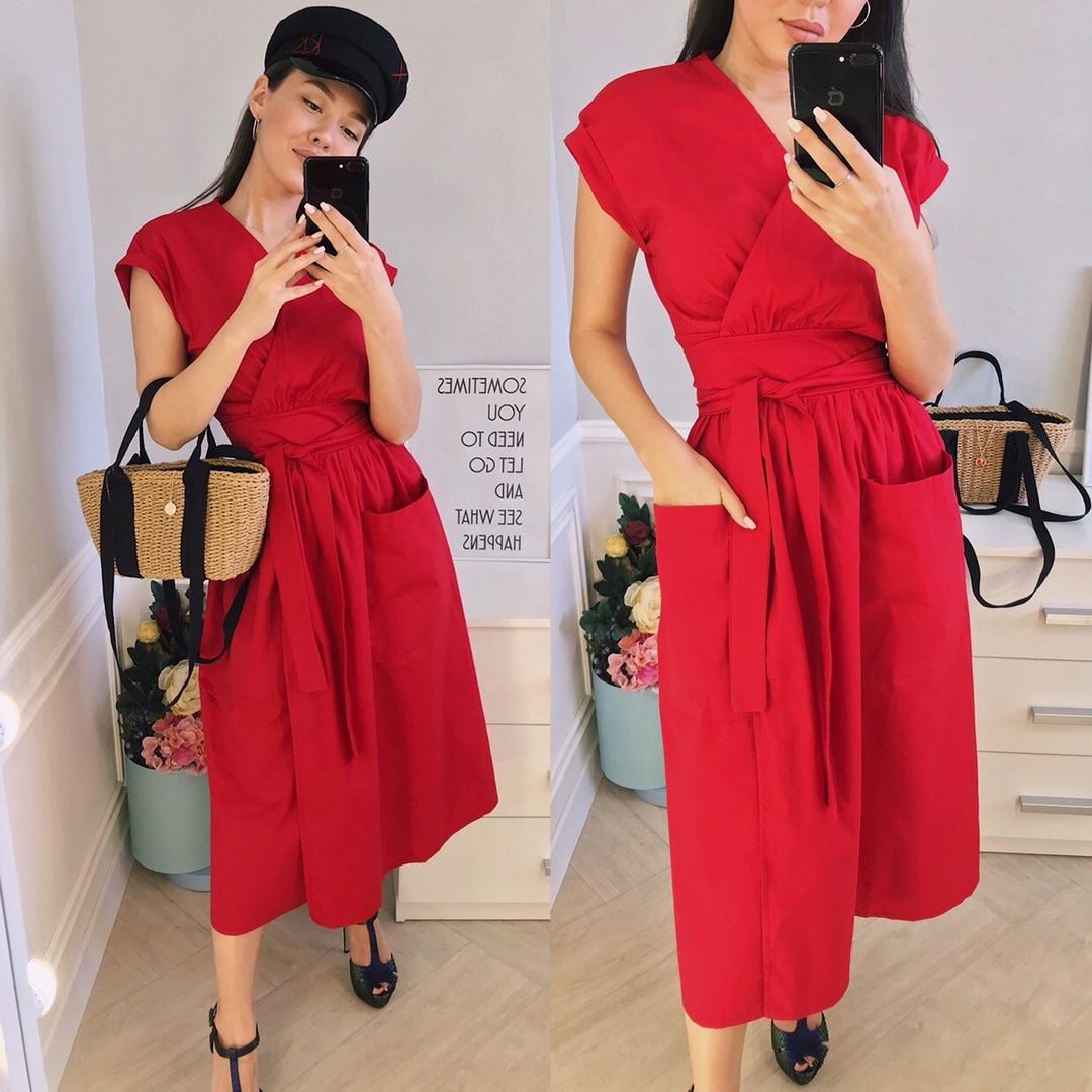 Стильное коттоновое женское платье на запах под пояс с карманами S, M, L