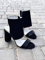 Босоножки на каблуке женские кожа черные Ko0107