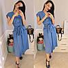 Стильное коттоновое женское платье на запах под пояс с карманами S, M, L, фото 2