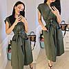 Стильное коттоновое женское платье на запах под пояс с карманами S, M, L, фото 3
