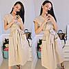 Стильное коттоновое женское платье на запах под пояс с карманами S, M, L, фото 4