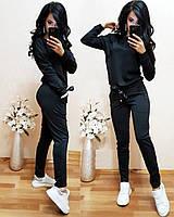 Стильный женский спортивный костюм с ленточками ткань двунитка стильные стрелки на штанишках С-ка черный