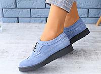 Туфлі-Оксфорди жіночі сині замшеві на шнурках, фото 1