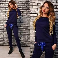 Стильный женский спортивный костюм с ленточками ткань двунитка стильные стрелки на штанишках С-ка темно синий