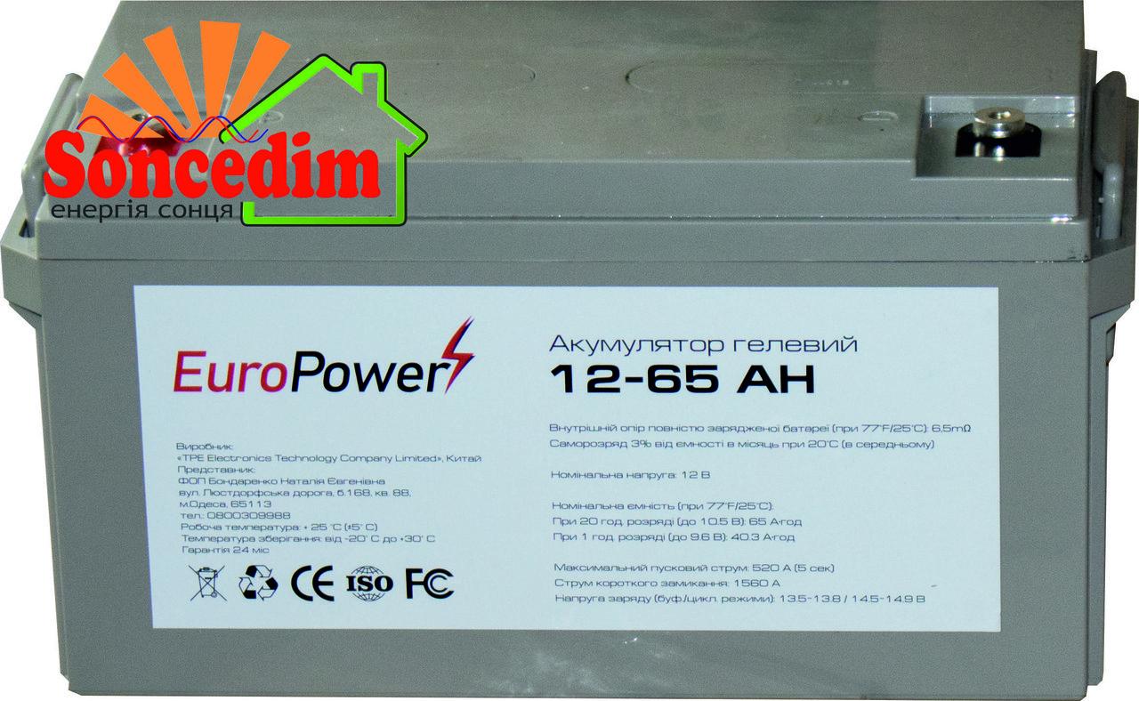 Гелевий акумулятор EuroPower GL 12-65 Аh