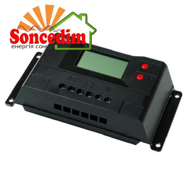 Контроллер 30А 12В/24В с дисплеем + USB гнездо (Модель-CM30D) JUTA