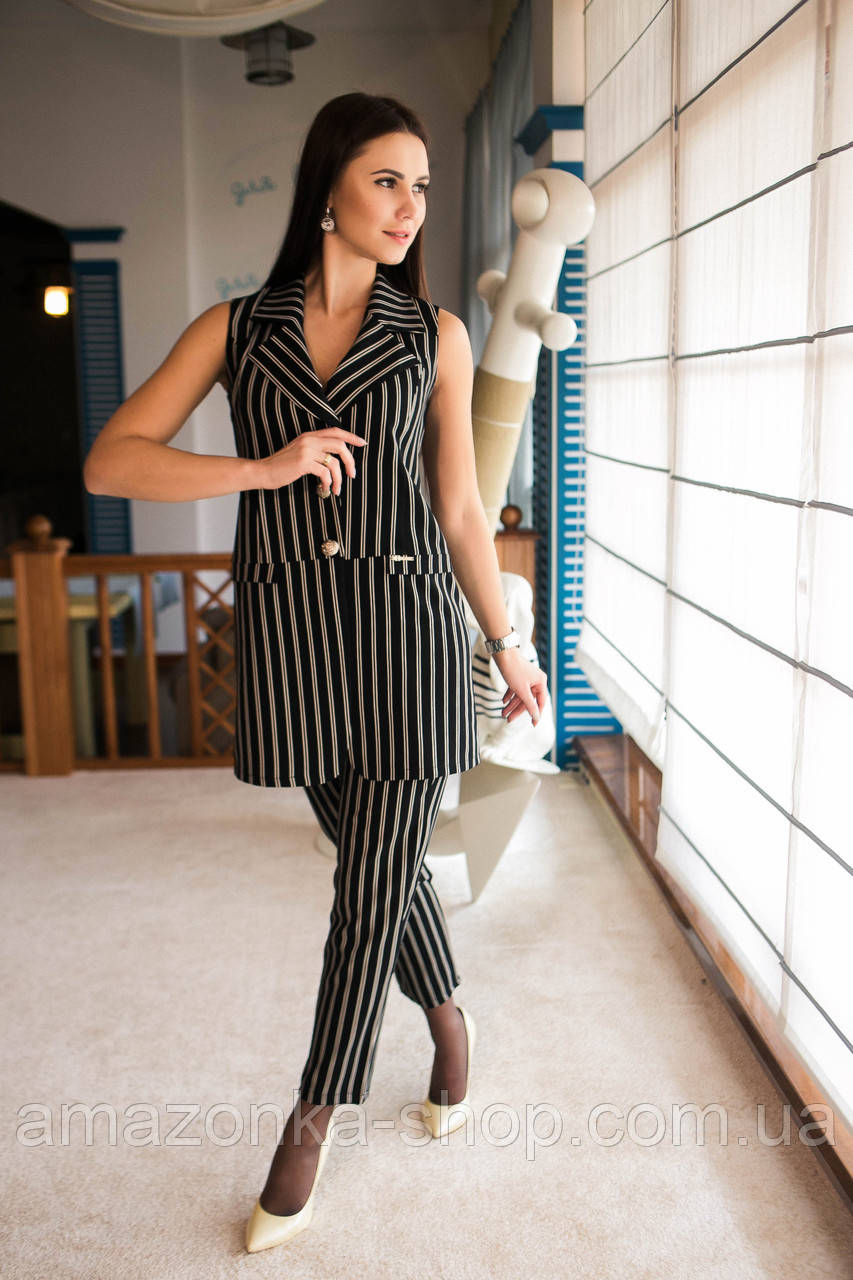 44a8c61b46d4 Нарядный женский костюм в полоску - модель 2019 - Арт км-501 - Купить  Летние женские ...