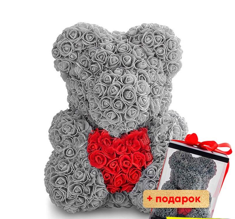 """Мишка из роз Тедди """"Teddy Bear"""" 40 см(Серый) + подарочная коробка бесплатно"""