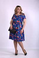 Летнее платье яркое в цветочный принт,  от 42 до 74 размера, фото 1