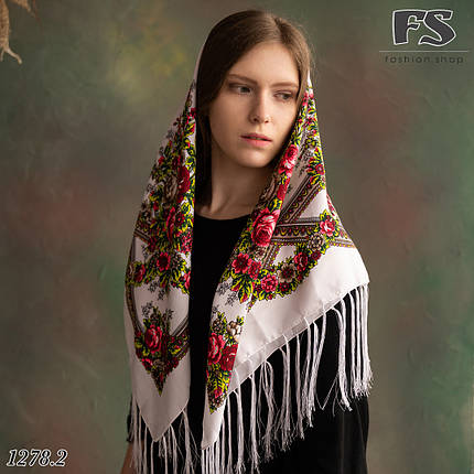 Павлопосадська біла хустина Браслет, фото 2
