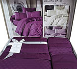 Комплект постельного белья сатин delux first choice евро размер square style fucia, фото 3