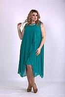 Летнее платье яркое с шифоновой накидкой,  от 42 до 74 размера, фото 1