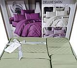 Комплект постельного белья сатин delux first choice евро размер square style yesil, фото 3