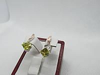 """Серьги серебряные  с золотой пластиной """"Квадро"""", фото 1"""