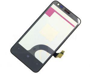 Тачскрин сенсор Nokia 620 Lumia черный с металлической рамкой (HQ)