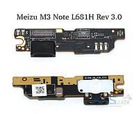 Шлейф Meizu M3 Note (L681H) нижняя плата с разъемом зарядки, кнопкой меню и микрофоном Rev 3.0 Original