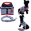 """Мягкая шлейка с поводком  """"Моряк"""" для  кота, собаки. Одежда для  кошек, собак, фото 6"""